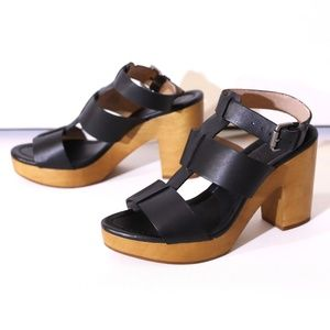 Madewell Wooden Platform Black Leather Strap Heels